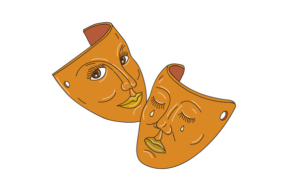 Theater Mask Comedy and Tragedy Mono Line example image 1