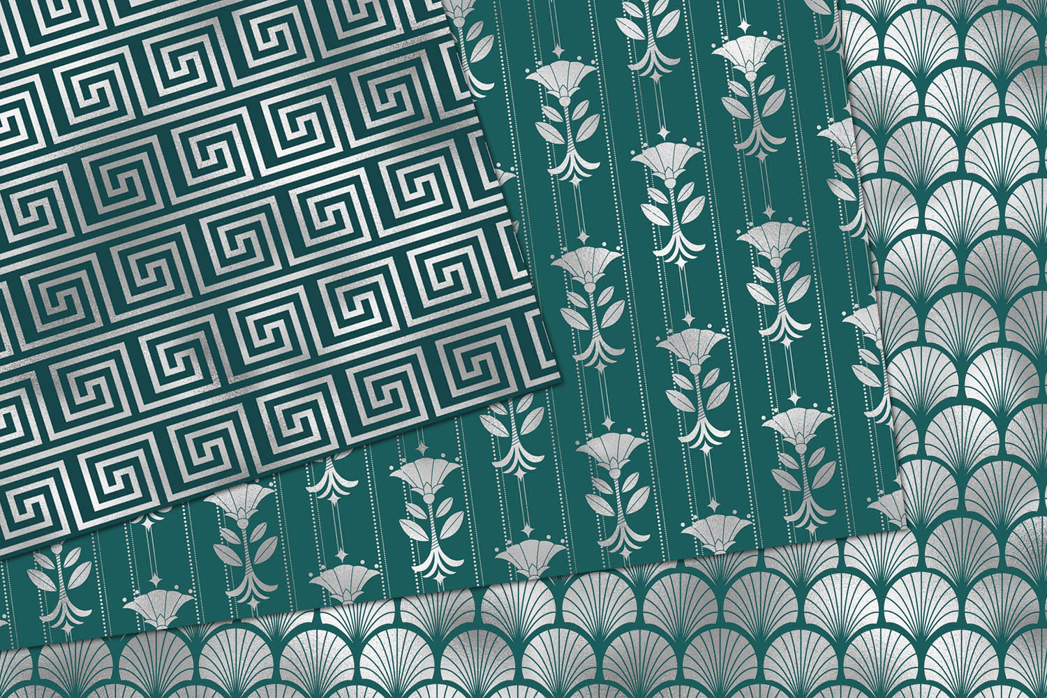 Teal and Silver Art Deco Digital Paper example image 3