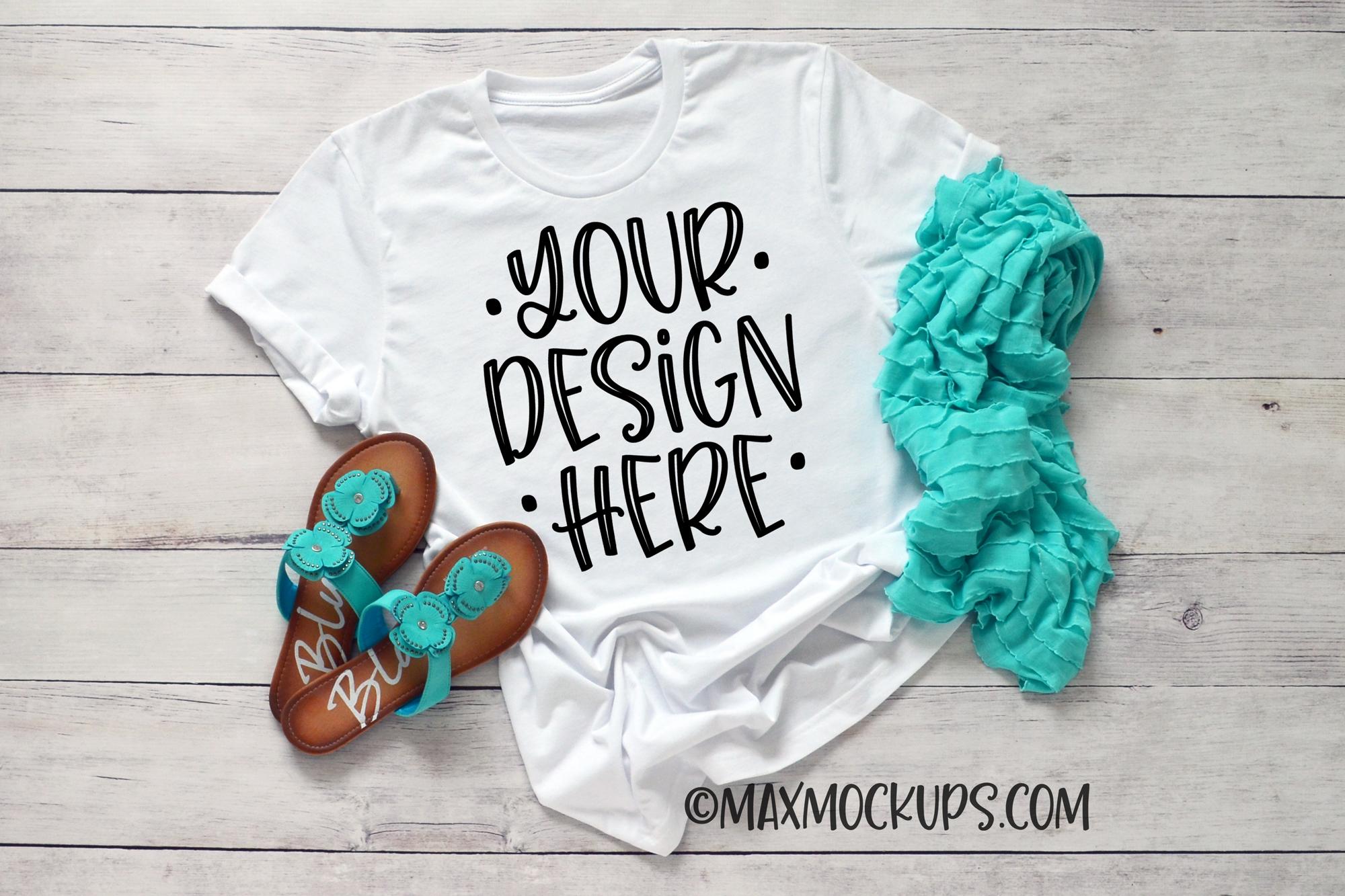 White t-shirt mockup Bella Canvas 3001, summer sandals example image 1