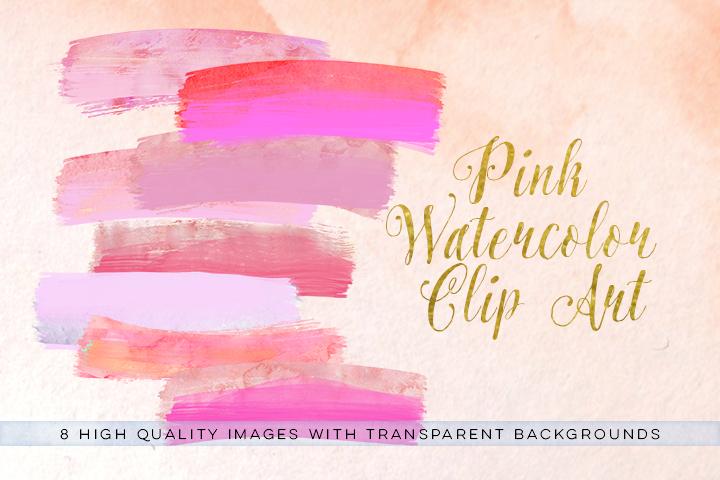 Watercolor brush strokes clip art, pink brush clipart, watercolor paint clipart, pink wedding Paint Clipart, pink ink strokes clipart, example image 1
