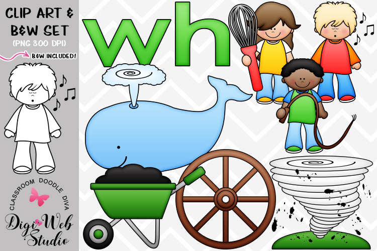 Clip Art / Illustrations - Beginning Digraphs - wh Phonics example image 1