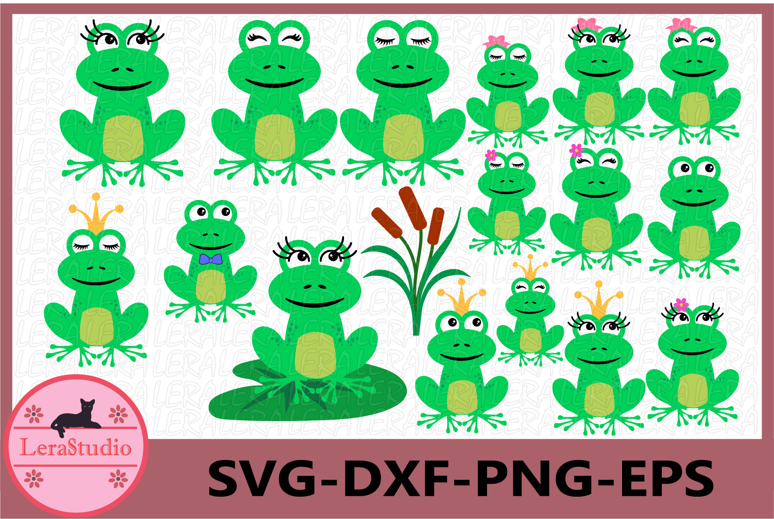 Frog SVG, Frog Prince svg, Frog Eyelashes Svg, Frog with Bow example image 1