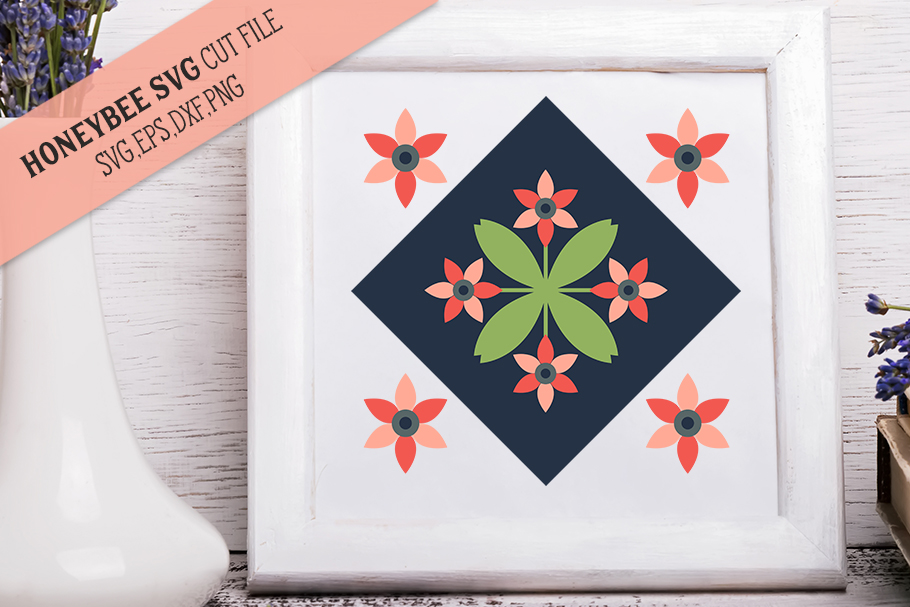 Blooming Blossom Barn Quilt SVG Cut File example image 1