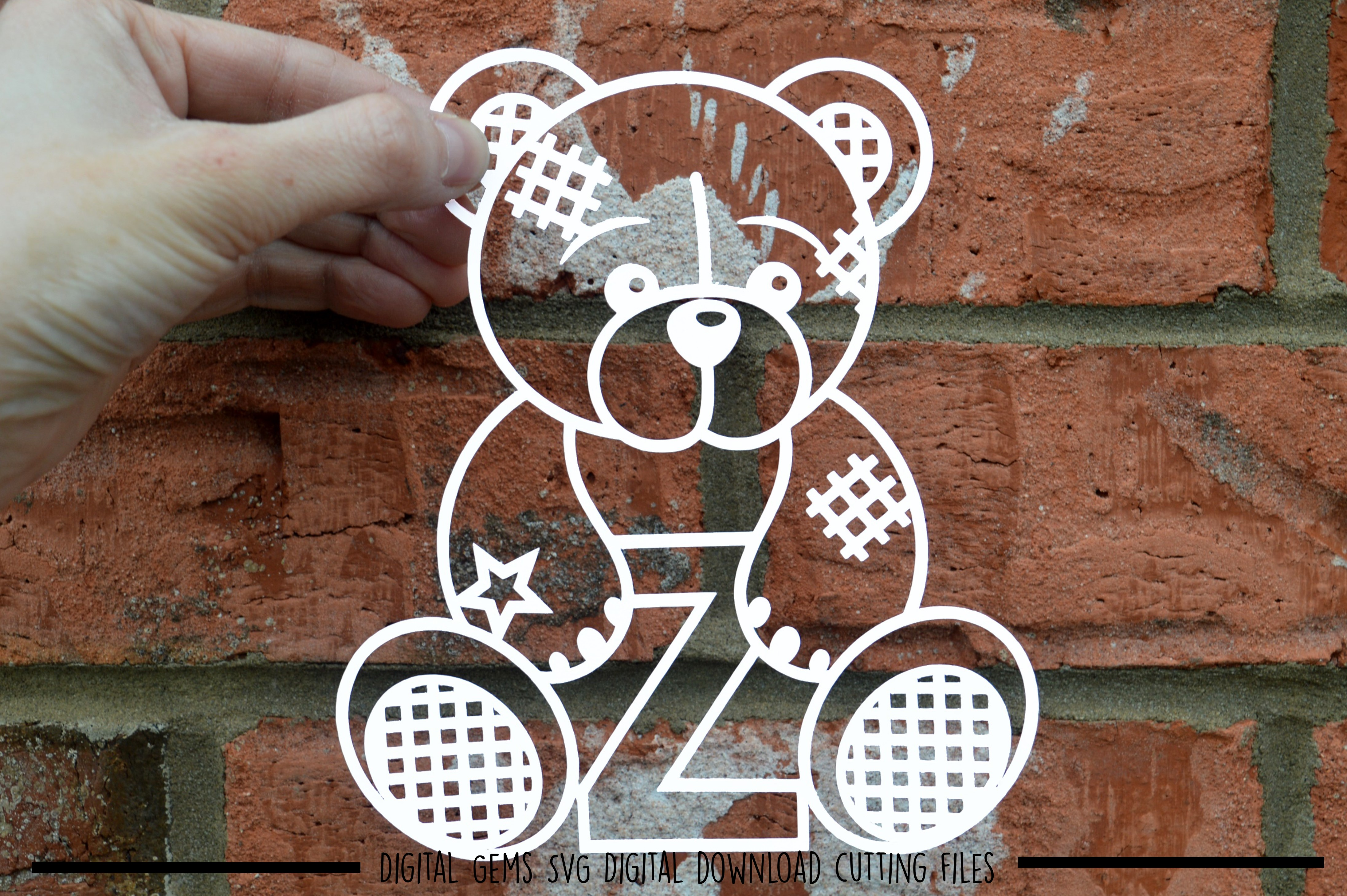 Alphabet teddy bear paper cuts SVG / DXF / EPS files example image 27