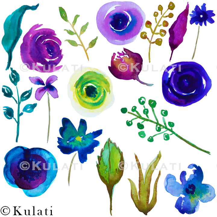 Watercolor Floral Clipart example image 2