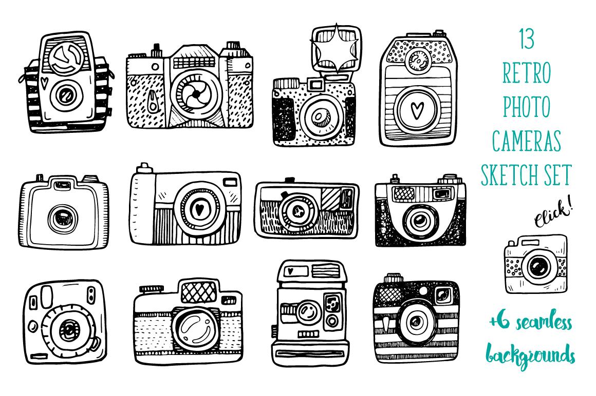 Hand drawn camera set +patterns example image 1