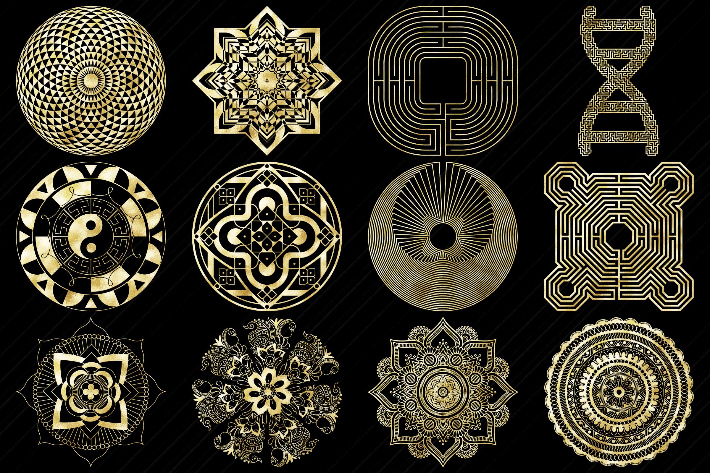 Gold Foil Labyrinth, Mandalas & Celtic Symbols Clip Art example image 2