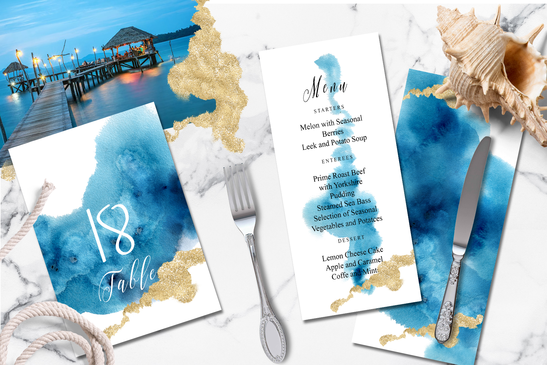 Ocean wedding invitations suit example image 2