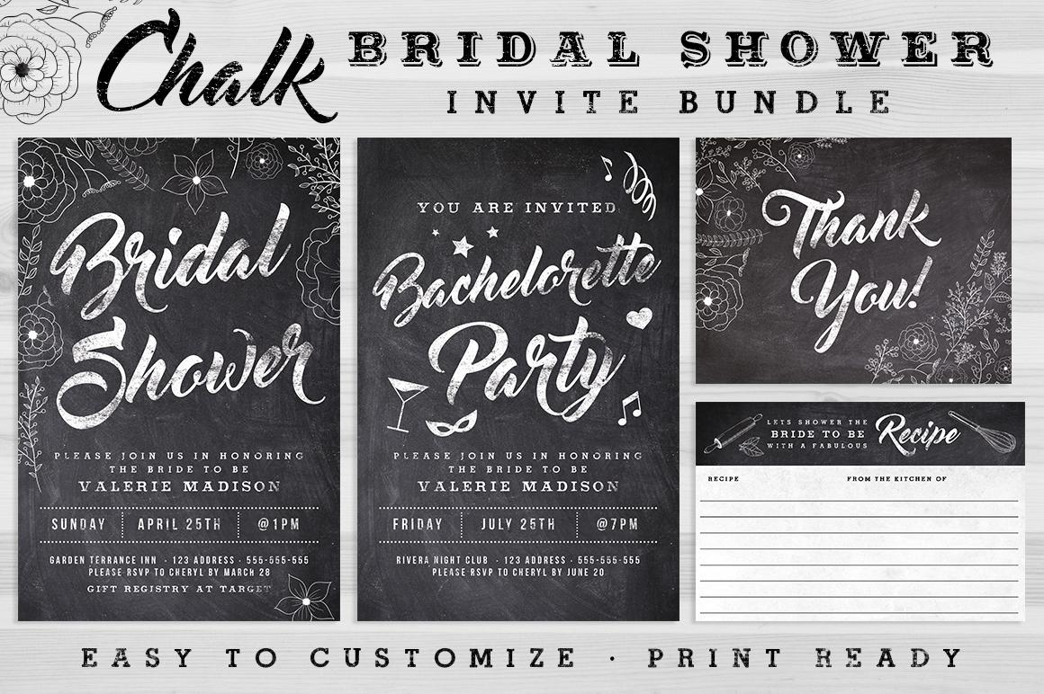 Chalk Bridal Shower Invite Bundle example image 1