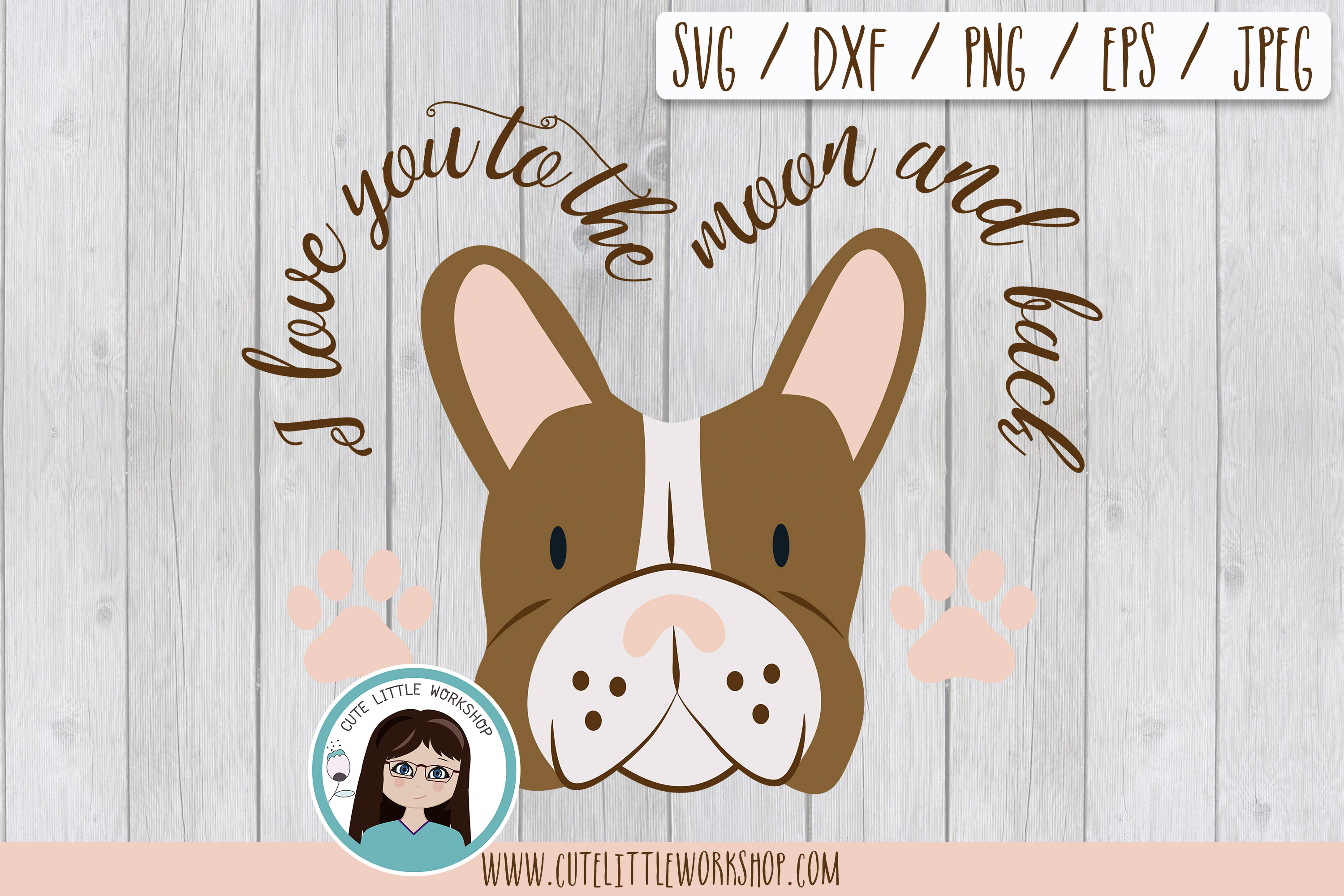 Boston terrier brown svg, dxf, png, eps example image 1