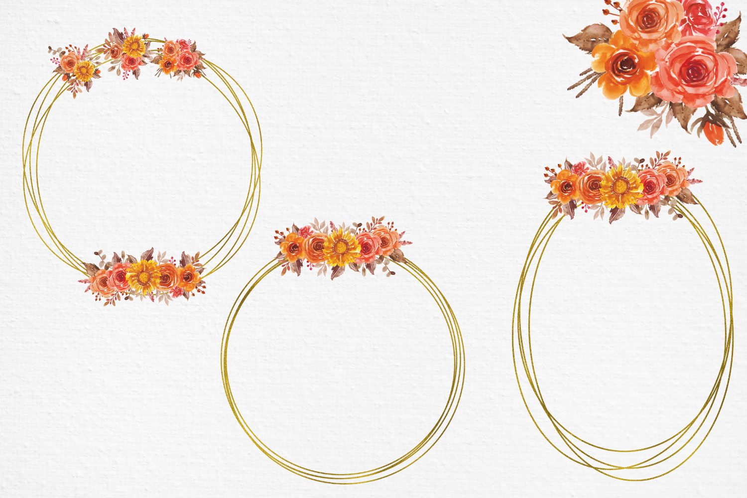 Fall Flowers Watercolor Frames, Geometric Gold Frames example image 2