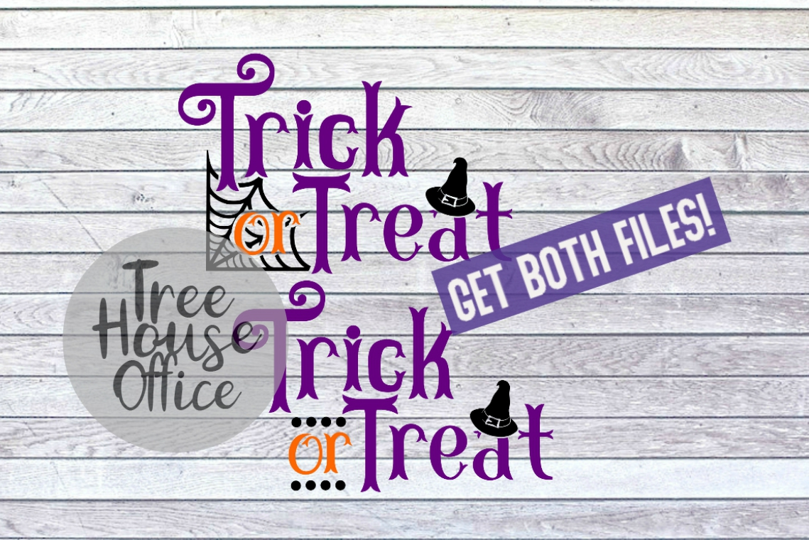 Trick or Treat Happy Halloween Witches Hat SVG PNG JPG DXF example image 1