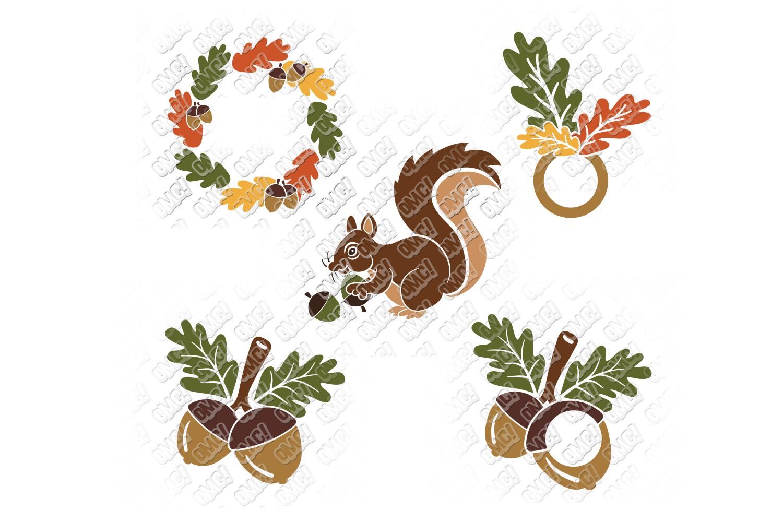 Acorn SVG Oak Tree Leaves in SVG, DXF, PNG, EPS, JPEG example image 5