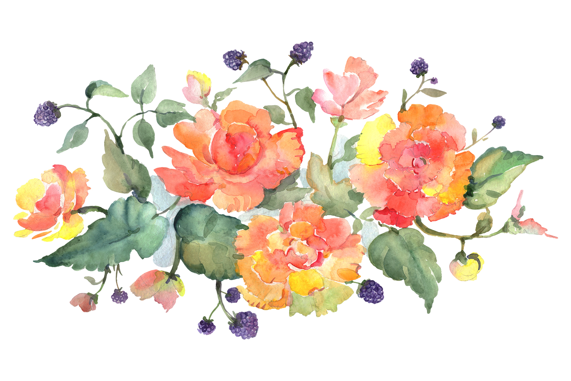 Bouquet with tea roses Watercolor png example image 1