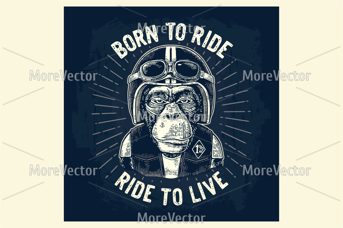 Monkey biker dressed in the motorcycle helmet, waistcoat and glasses. Born to ride lettering example image 1