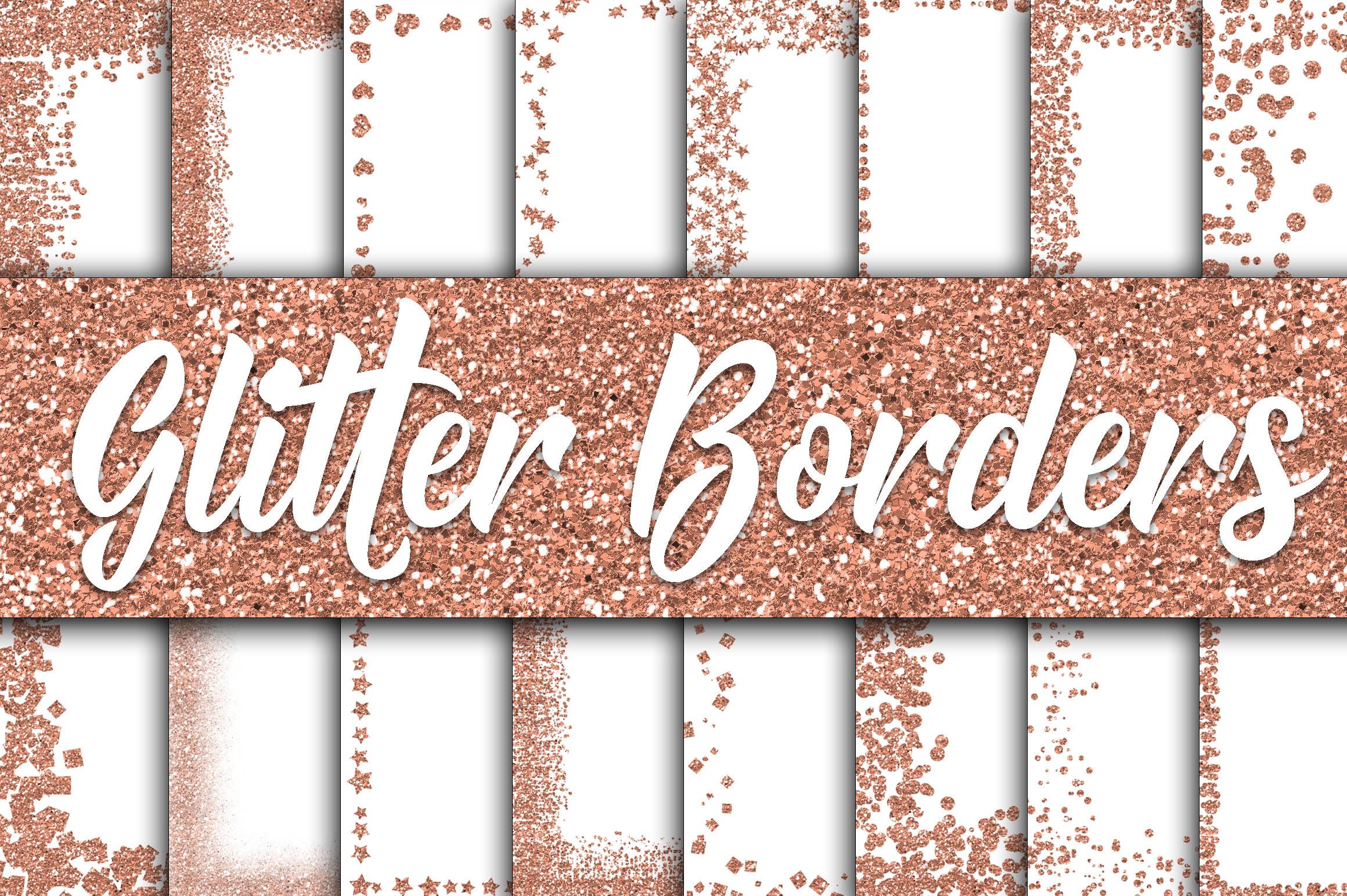 Rose Gold Glitter Borders Digital Paper example image 1
