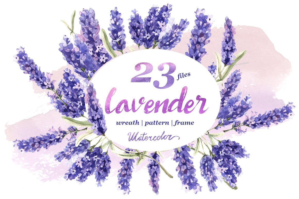 Lavender PNG flowers in watercolor example image 1