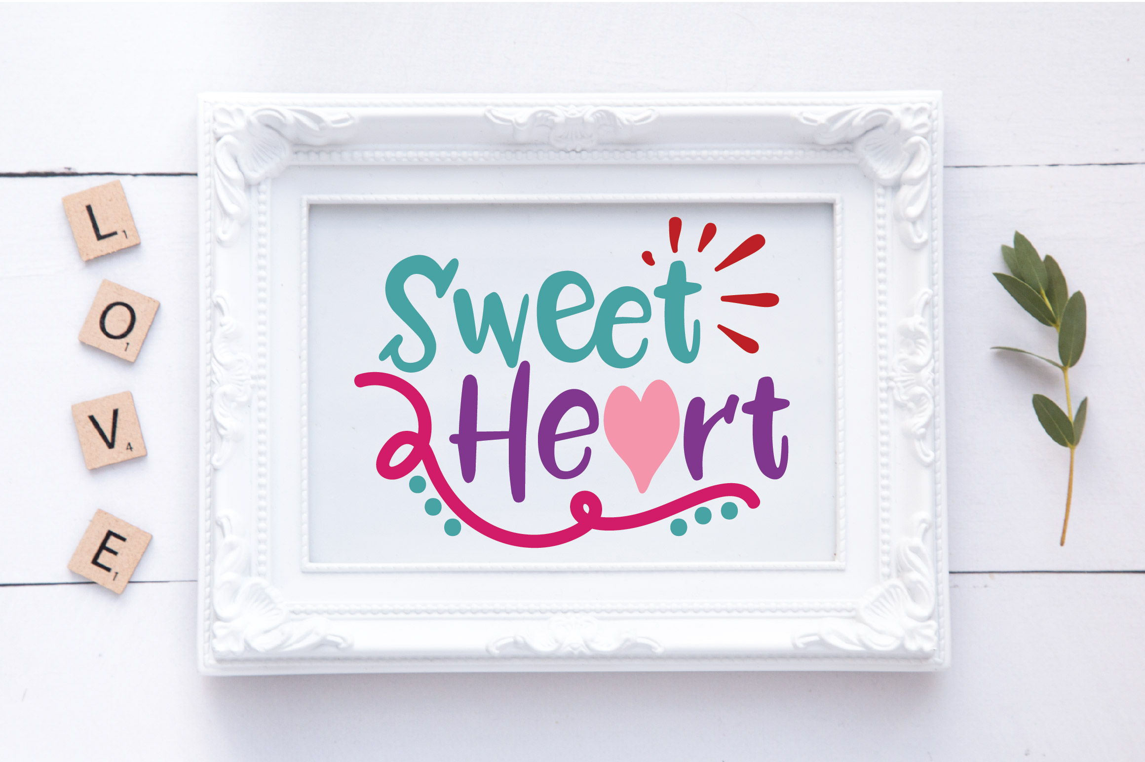 Sweet Heart SVG Cut File - Valentine SVG EPS DXF PNG PDF AI example image 2