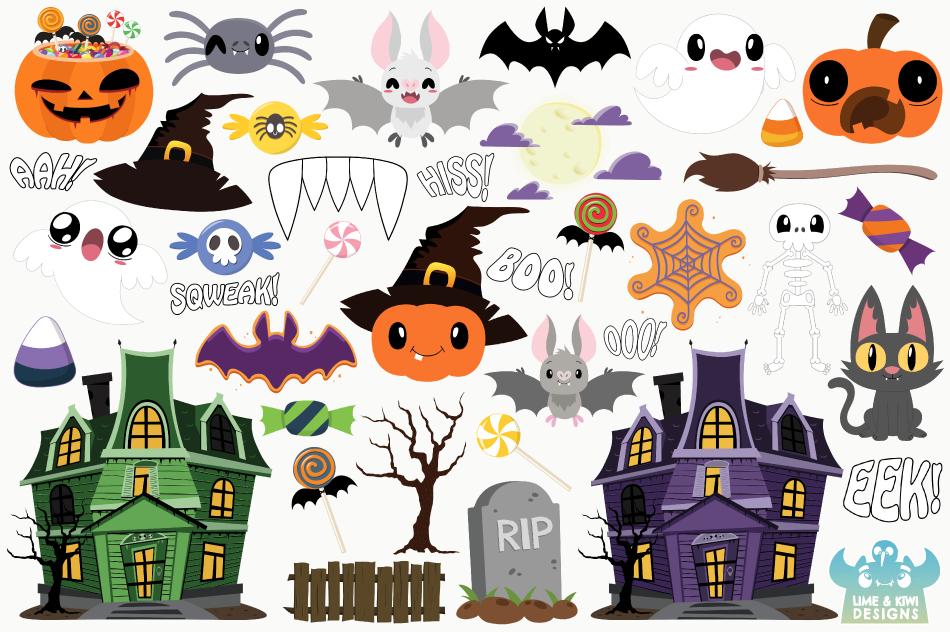 Haunted Halloween House Clipart, Instant Download Vector Art example image 2