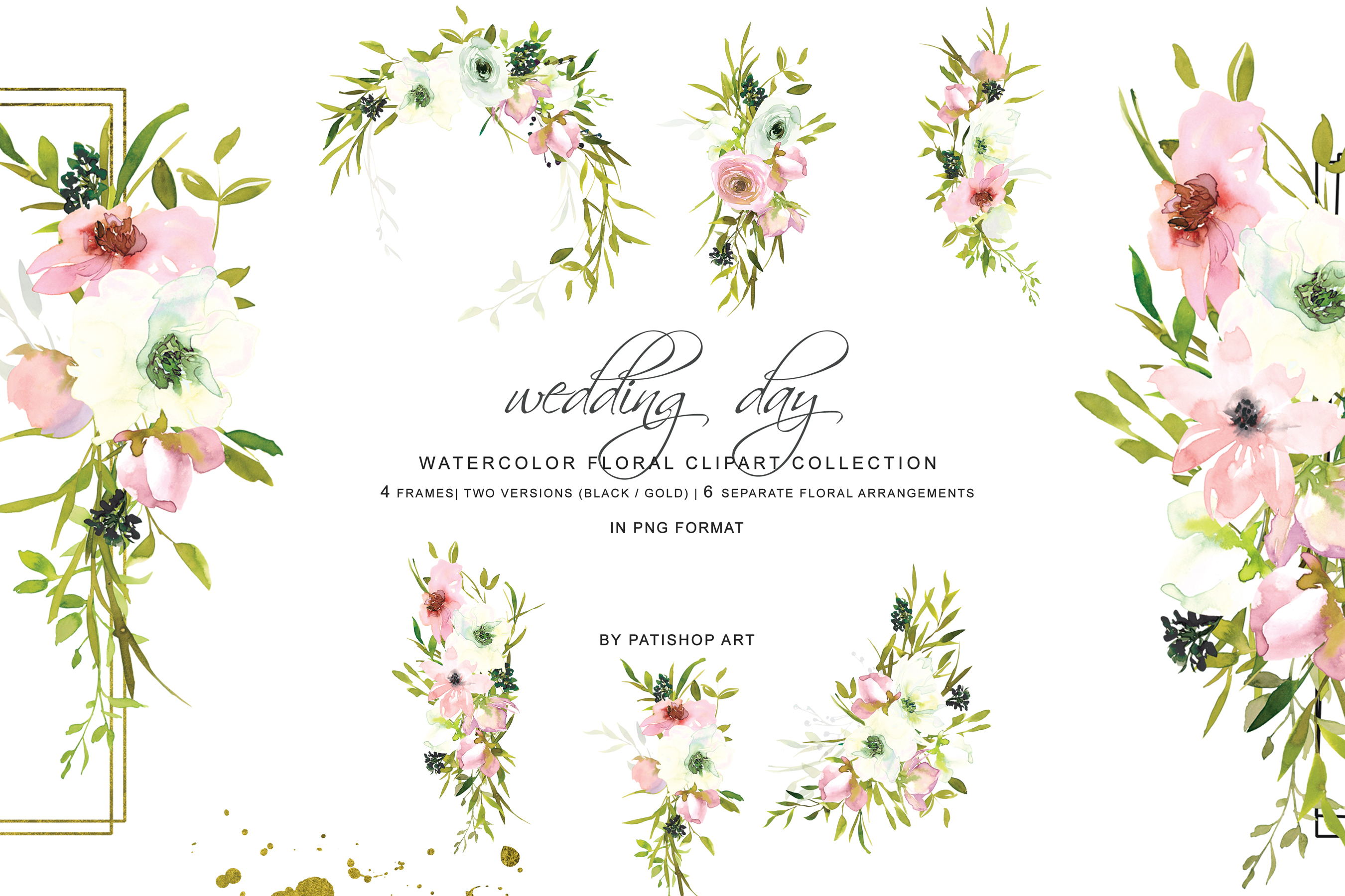 Hand Painted Watercolor Blush and White Rose Clipart example image 9