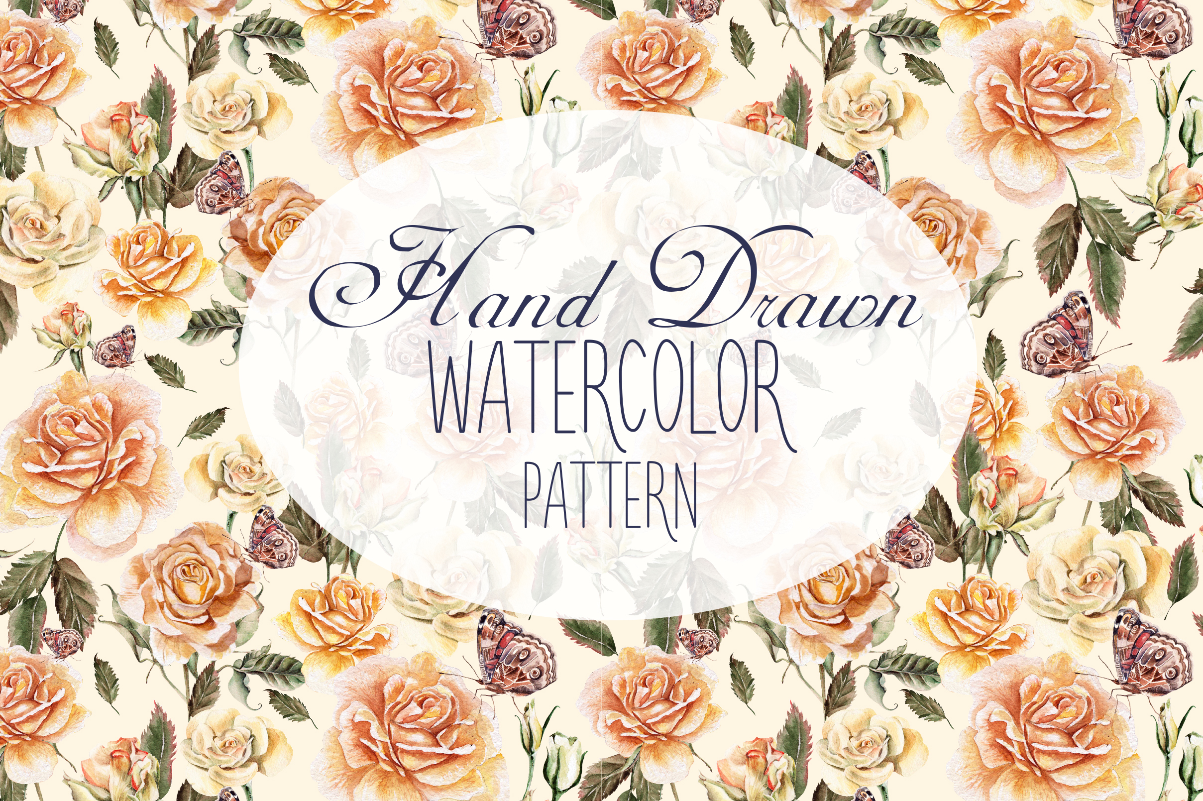 9 Hand Drawn Watercolor PATTERNS example image 1