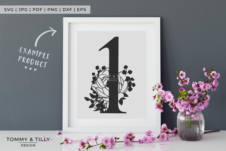 1 - Floral Bouquet Number Design - Paper Cut SVG EPS DXF PNG example image 6