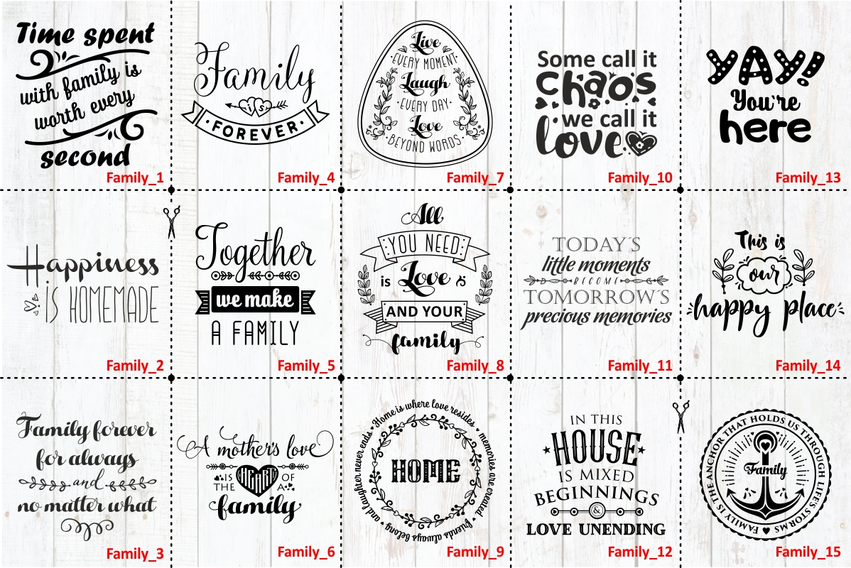 Love Family Quotes. SVG bundle example image 2