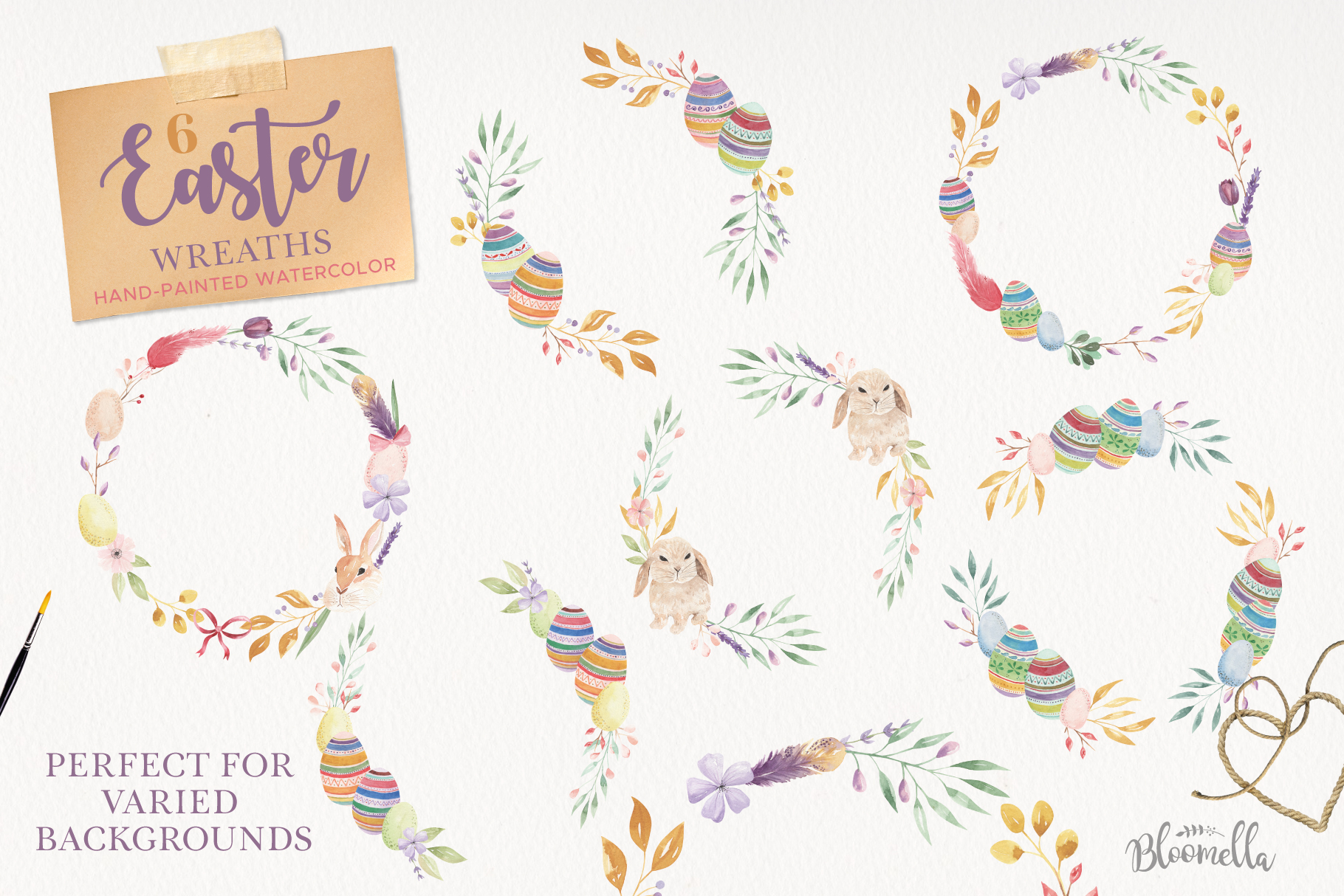 Easter Egg HUGE Bunny Watercolor Floral Spring Clipart Kit example image 6