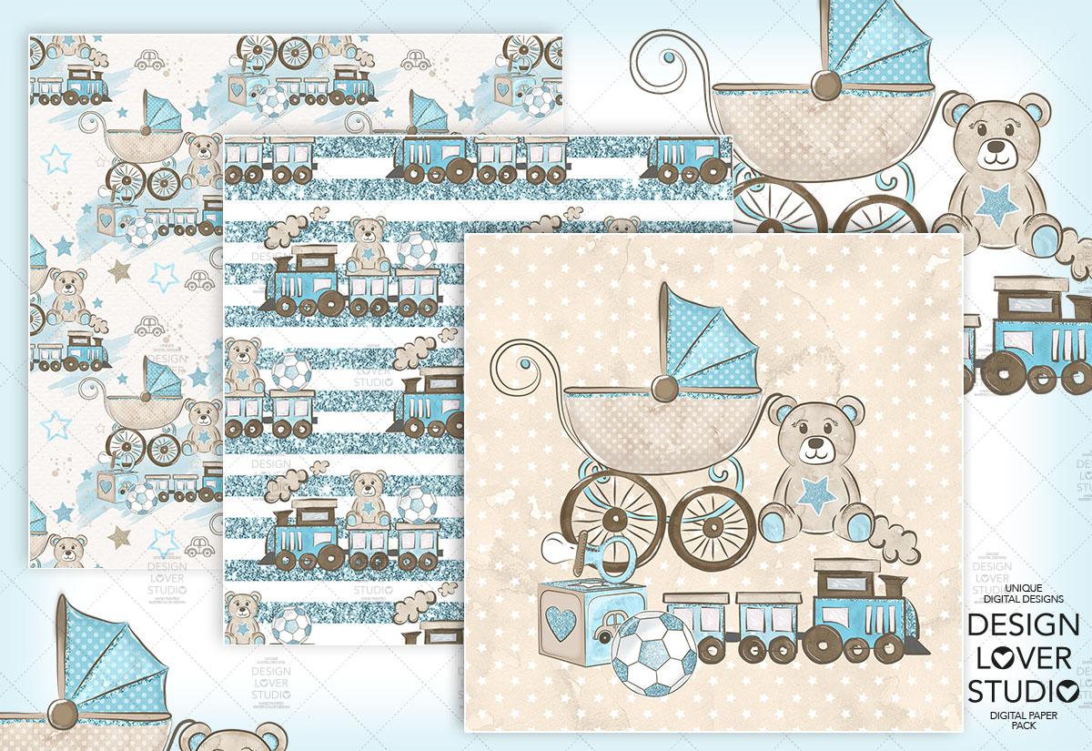 Baby Boy digital paper pack example image 3