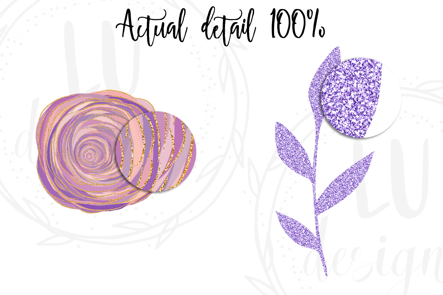 Floral and Glitter Clipart, Purple Flowers Graphics example image 7