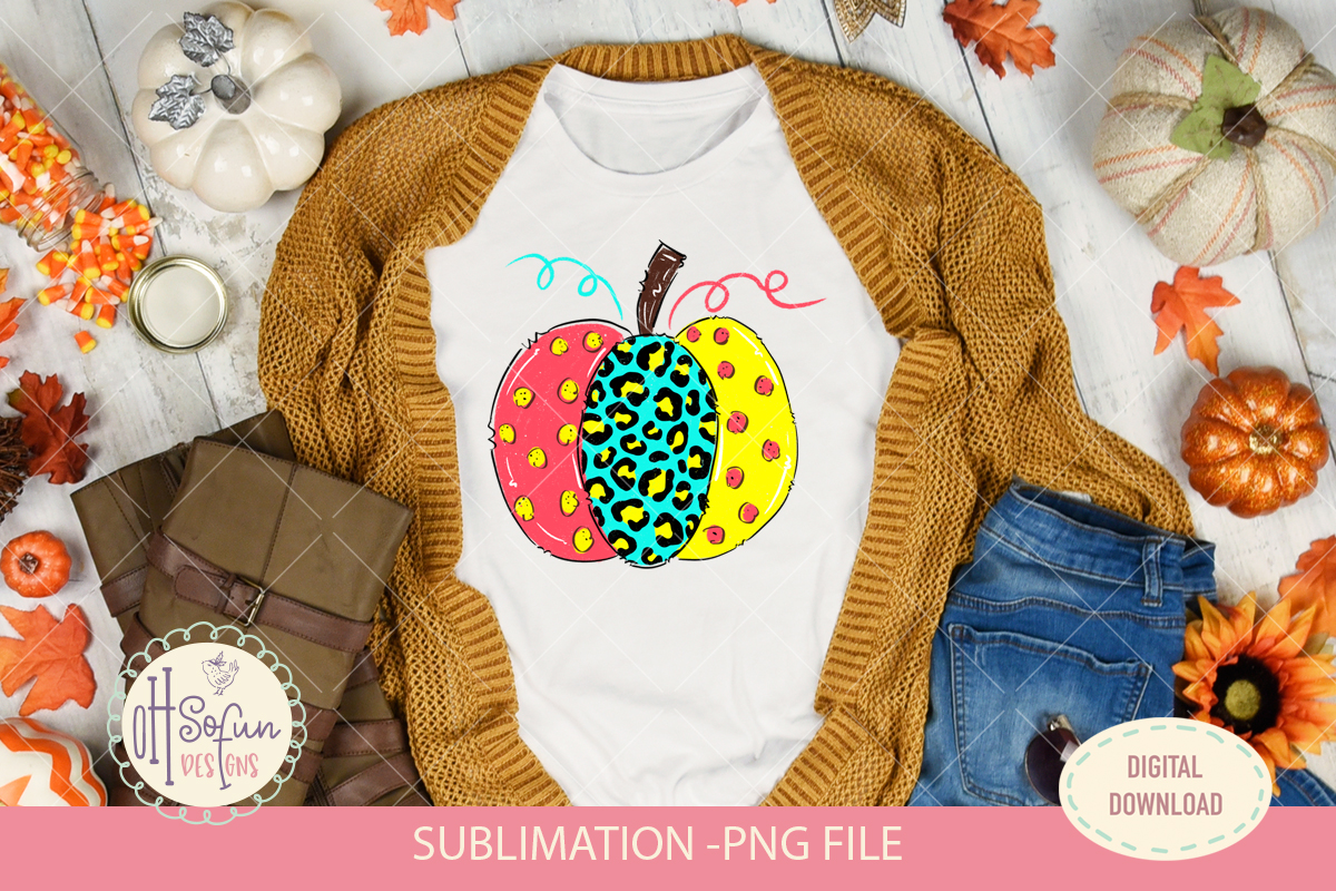 Leopard animal print, halloween pumpkin, sublimation design example image 2