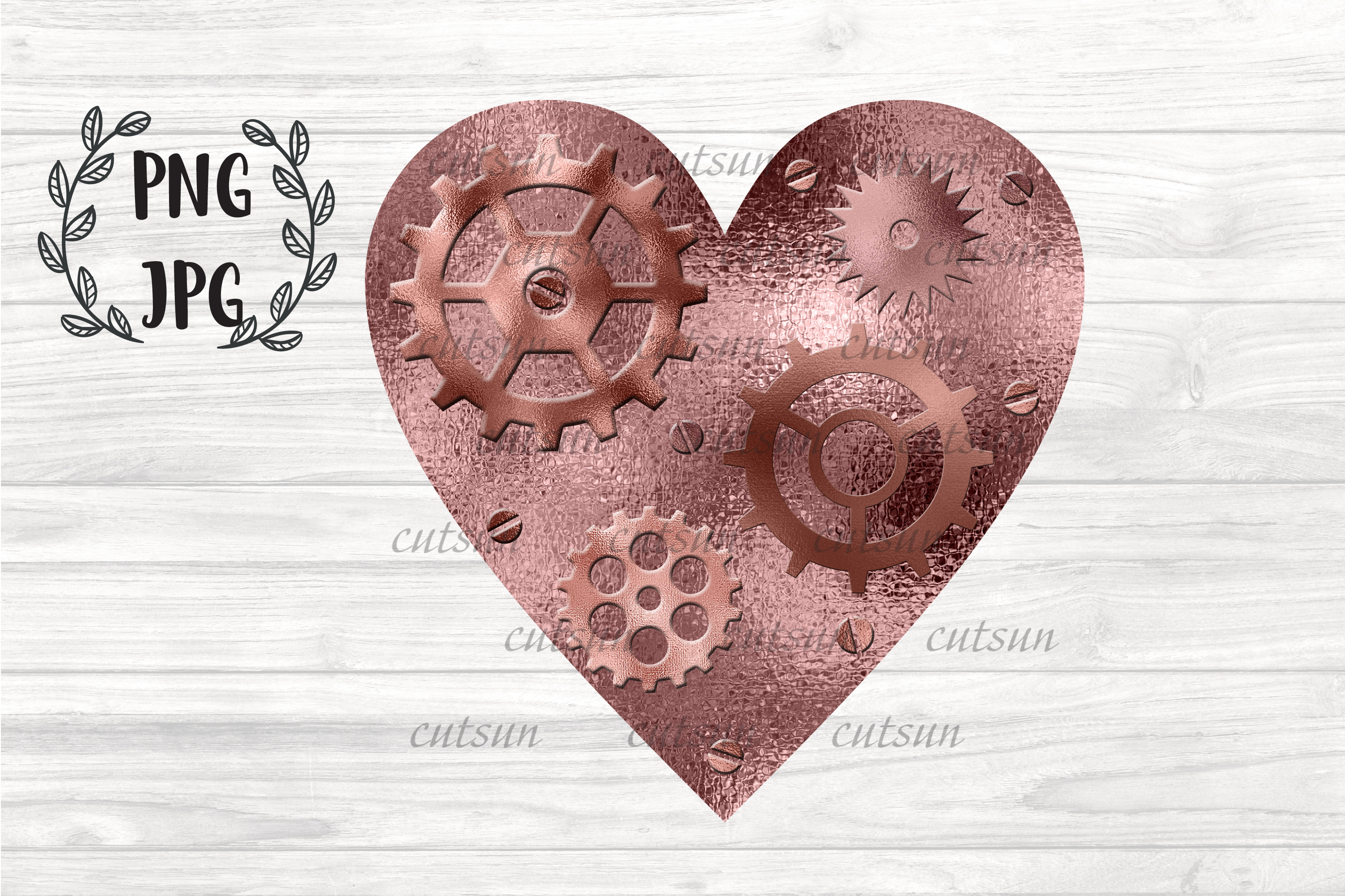 Steampunk Heart Rose Gold sublimation design example image 1