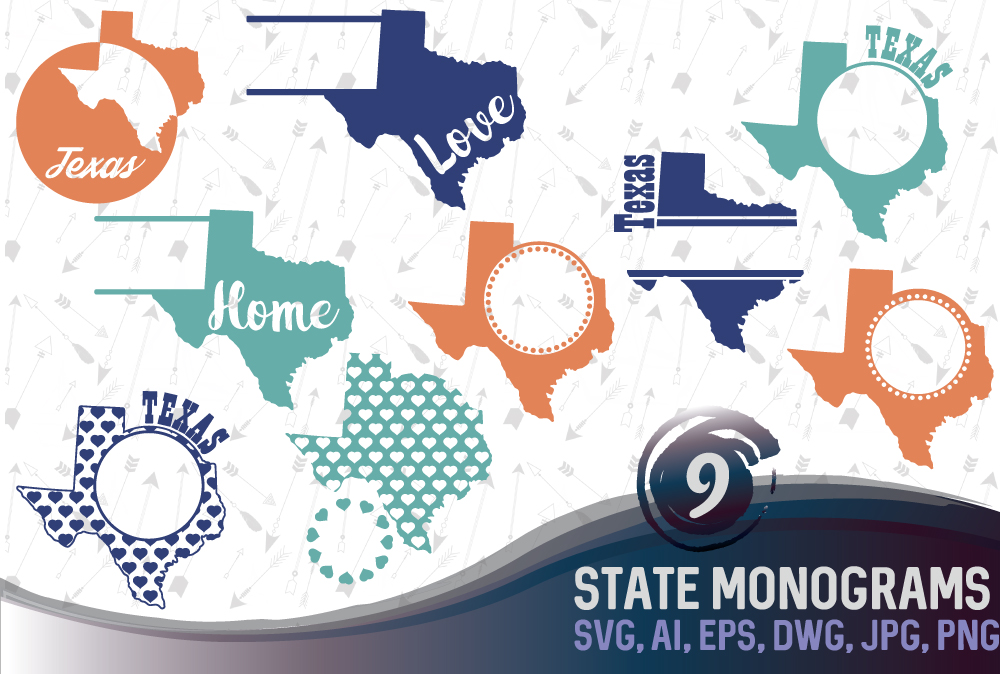 Texas Monograms SVG, JPG, PNG, DWG, CDR, EPS, AI example image 1