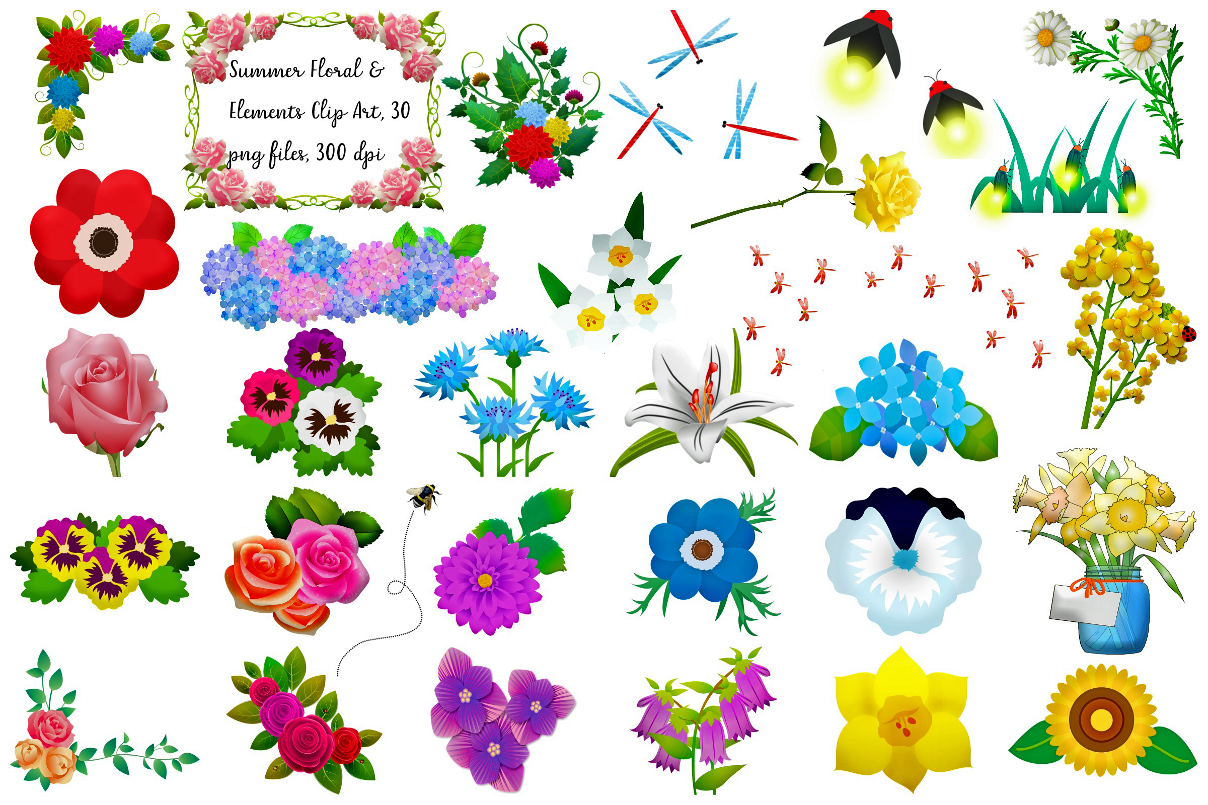 Summer Florals & Elements Clip Art example image 1
