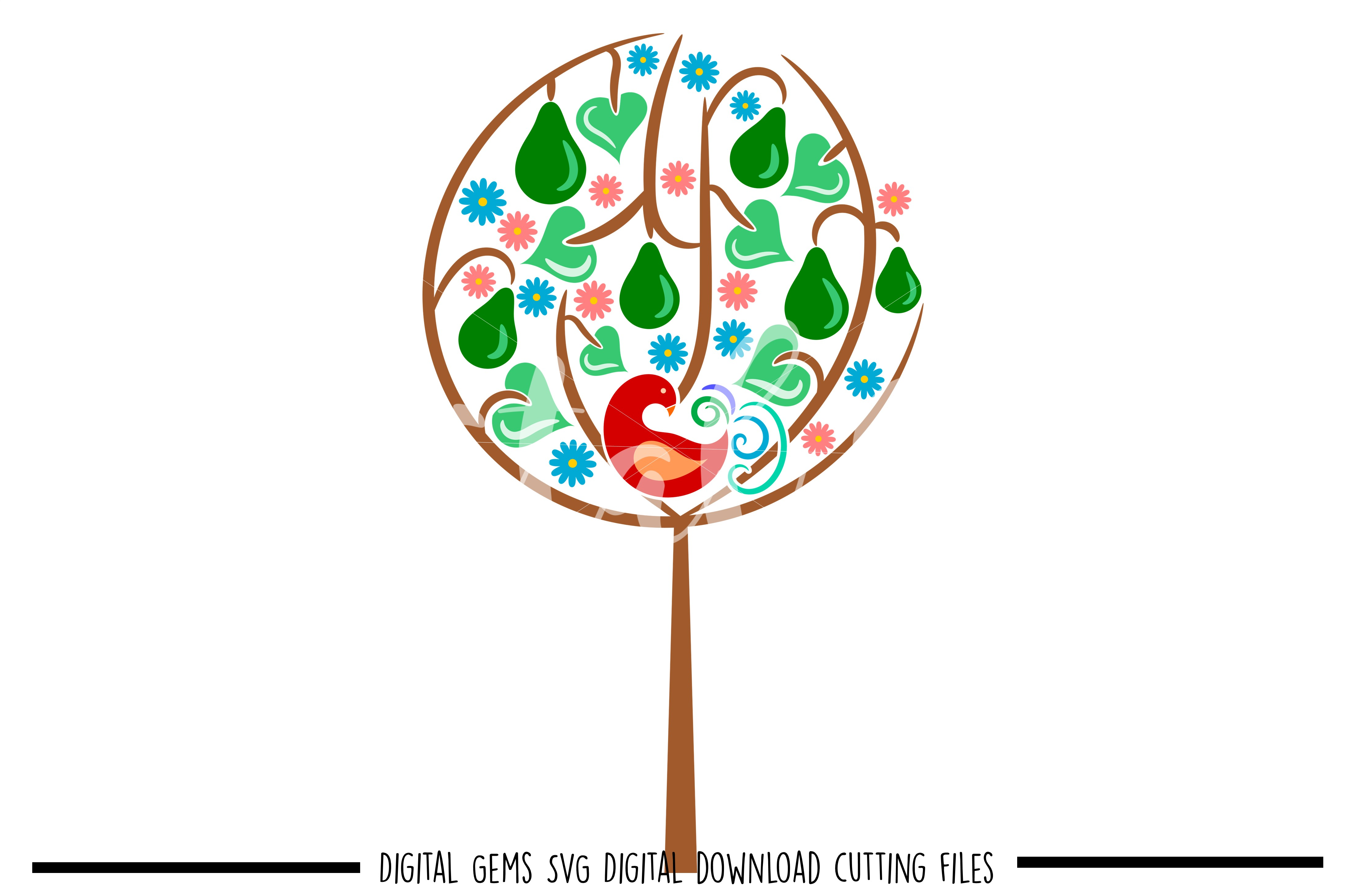 A Partridge in a pear tree SVG / DXF / EPS / PNG files example image 1