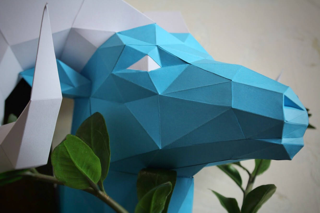 Diy Paper Sculpture - Ram Head, Paper Trophy, Animal Trophy, Loft Decor, Wall Decor, 3D papercraft model, animal head, lowpoly paper, DIY example image 4