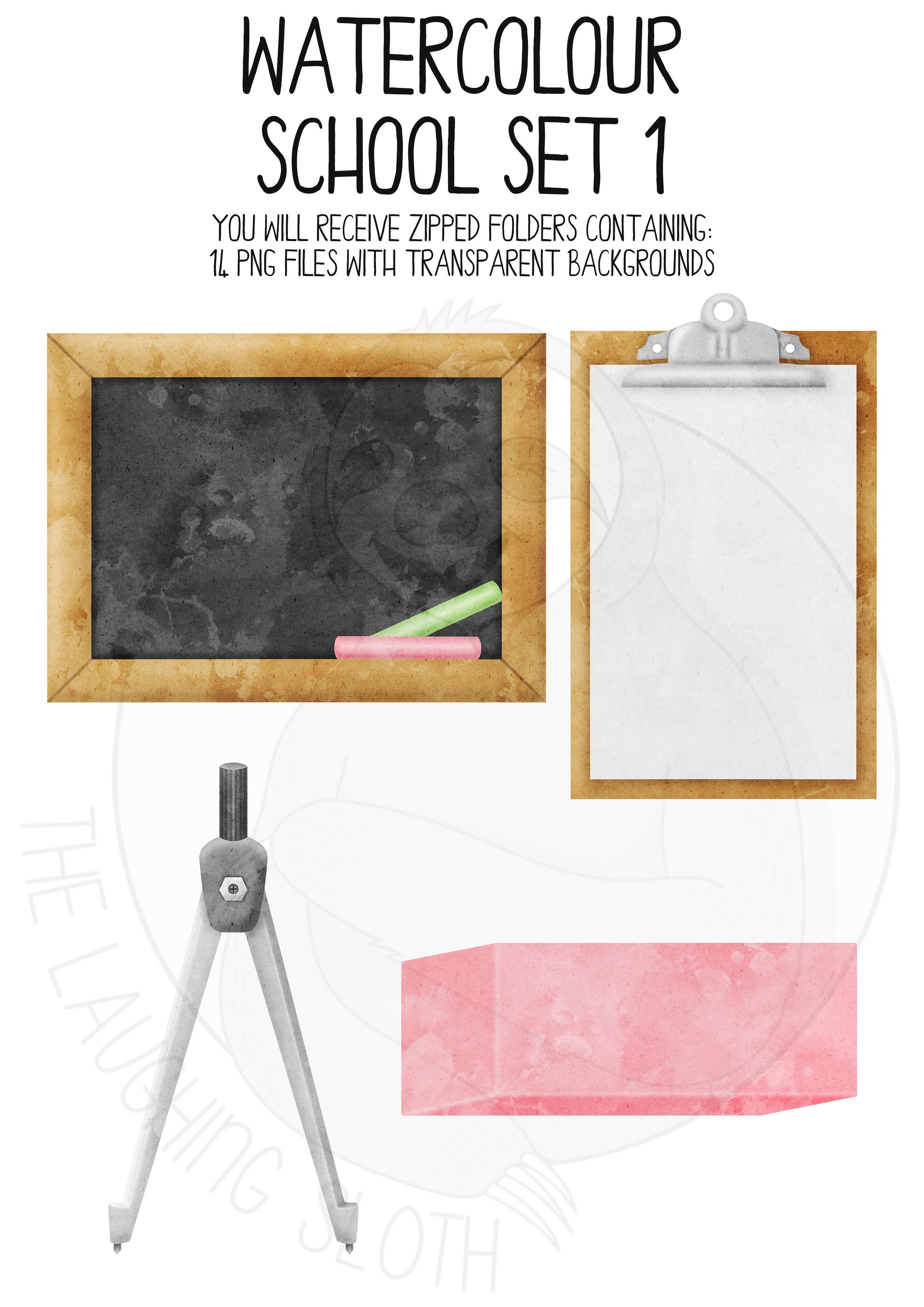 Watercolor School Clip Art Set 1 example image 3