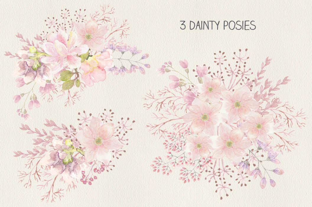 Wedding clip art bundle in blush Magnolias II example image 5