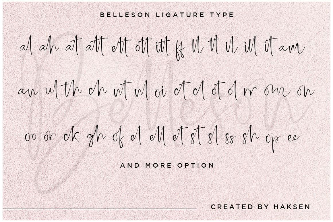 Belleson Luxury Script Type example image 13