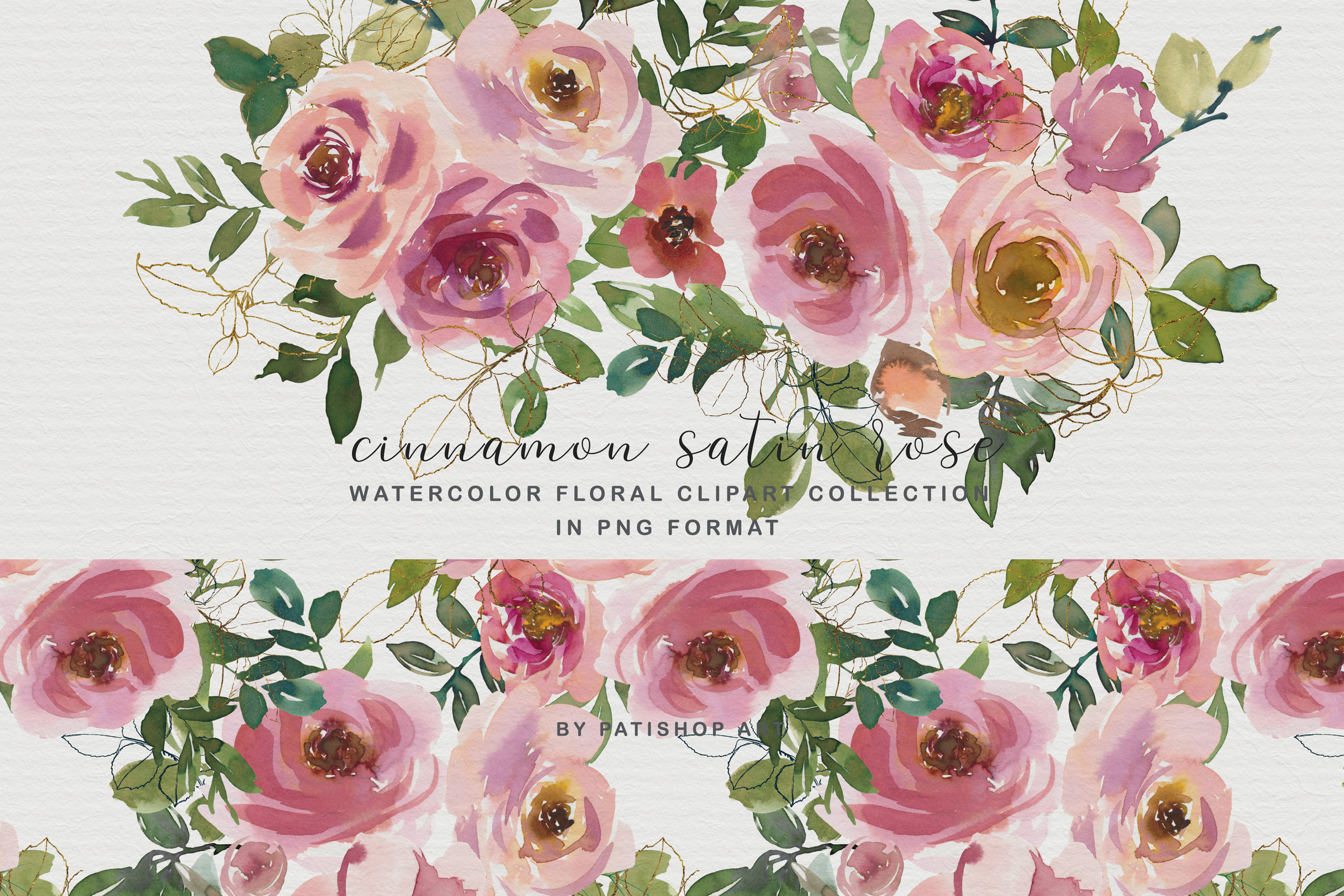Blush and Peach Watercolor Floral Clipart Collection example image 1