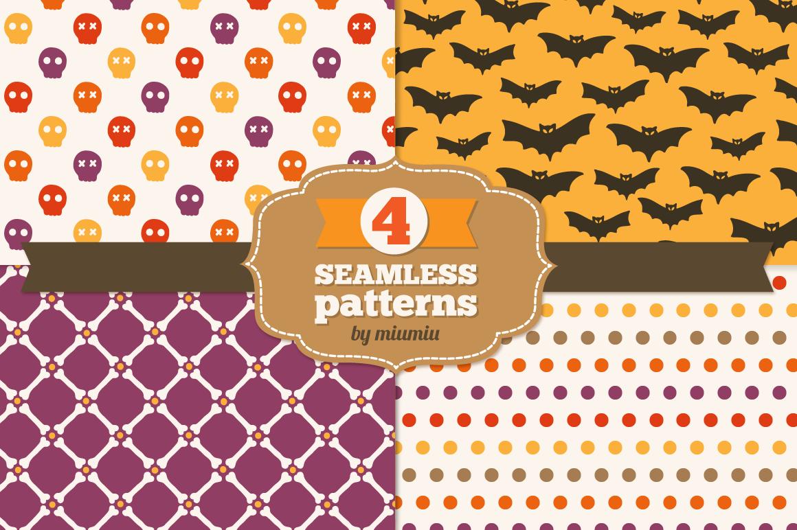 Halloween seamless patterns - set 2 example image 1