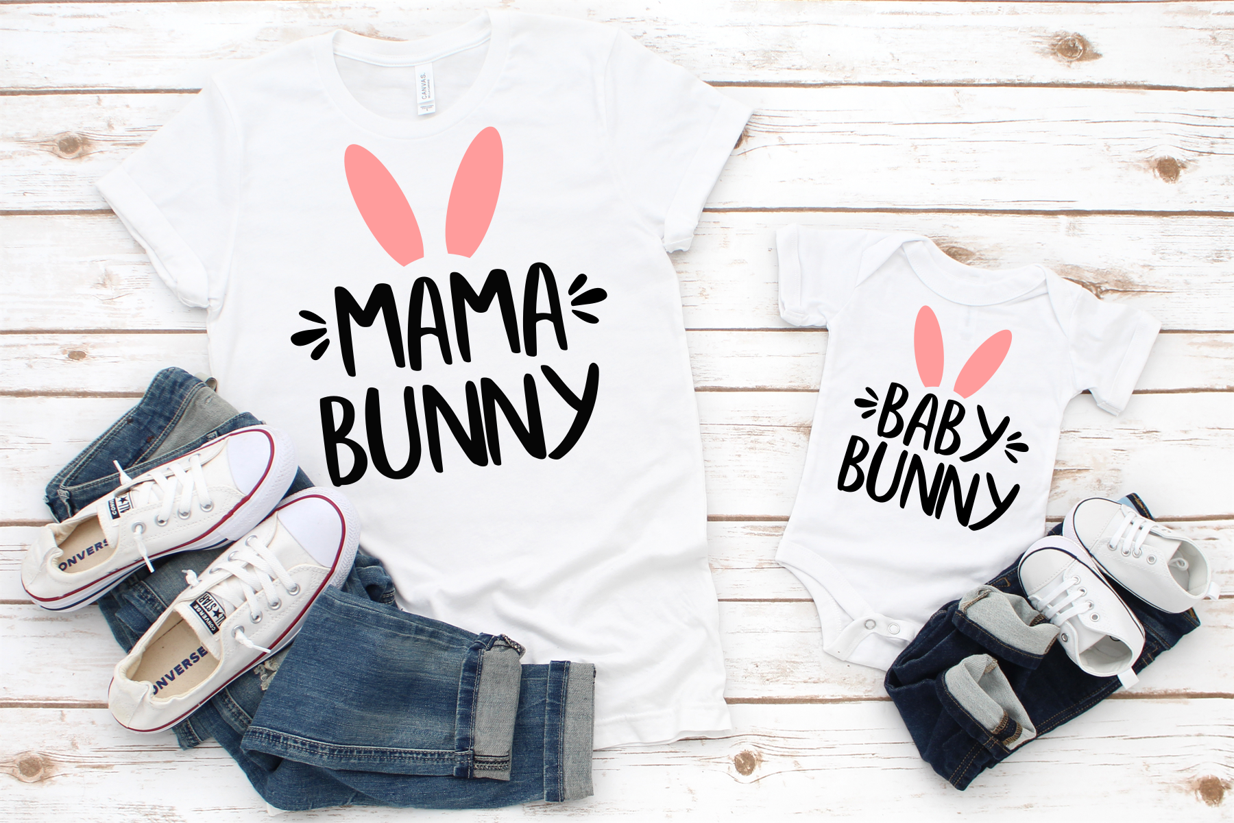 Easter SVG Mama Bunny SVG Baby Bunny SVG example image 1