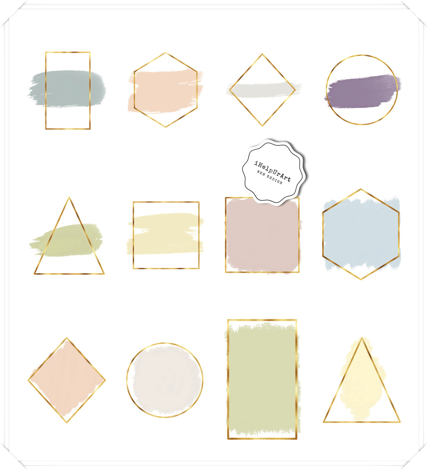 Geometric Frames - Gold Foil and Watercolor Strokes example image 2