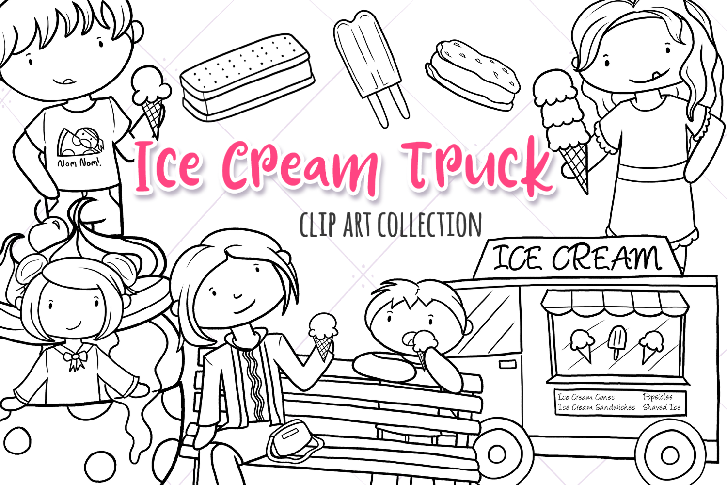 Ice Cream Truck Digital Stamps example image 1