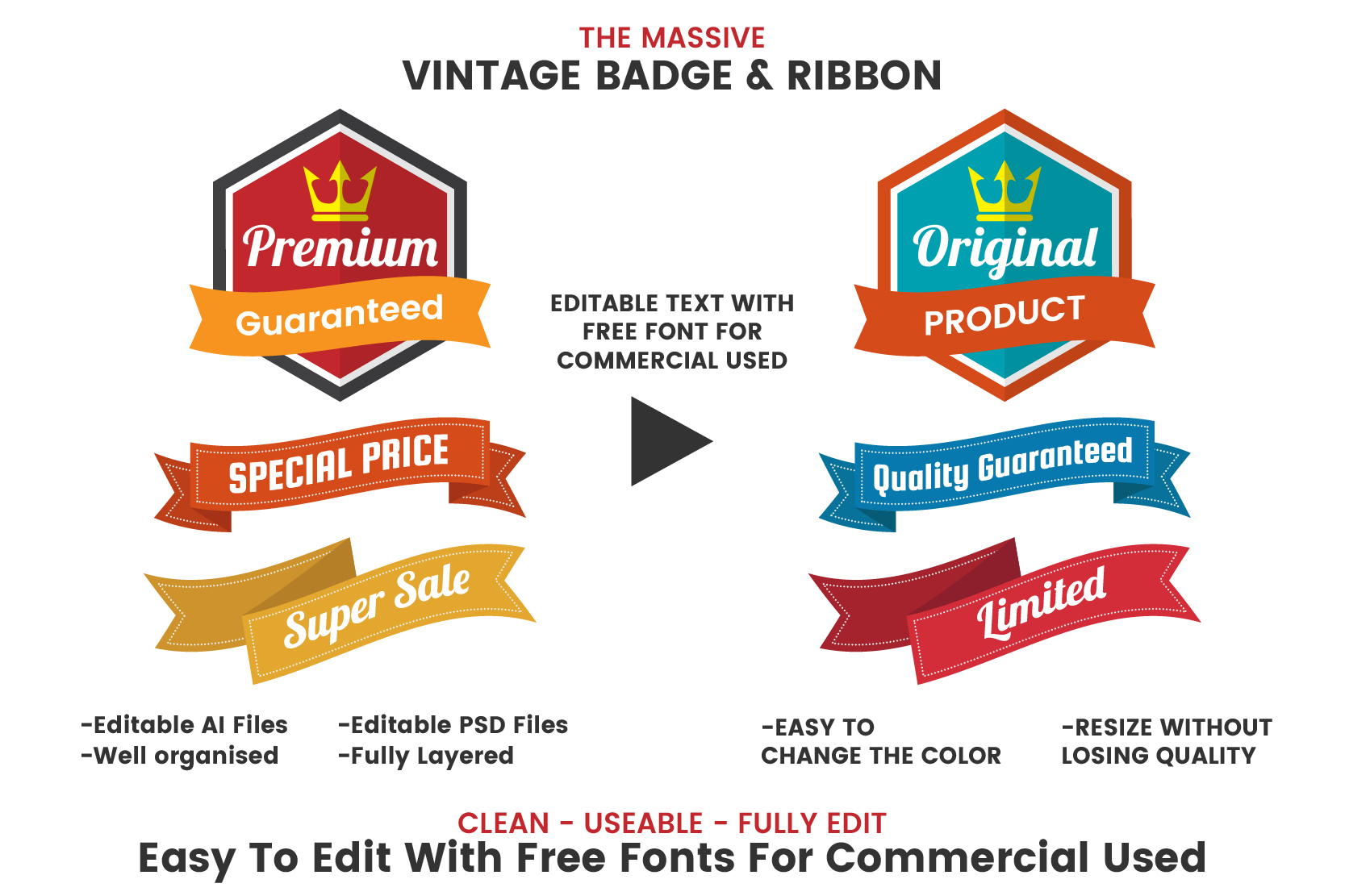 1046 VINTAGE BADGE & RIBBON example image 2