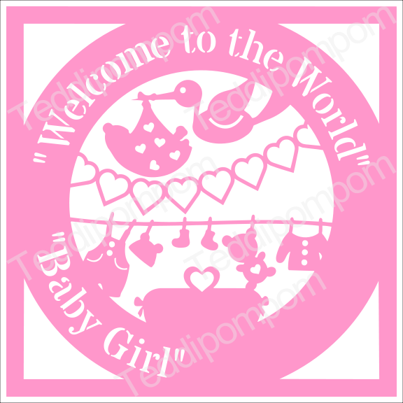 Baby SVG, Welcome to the World Baby Girl Birth Announcement Papercut, SVG Cutting File , Papercutting, Card Making example image 1