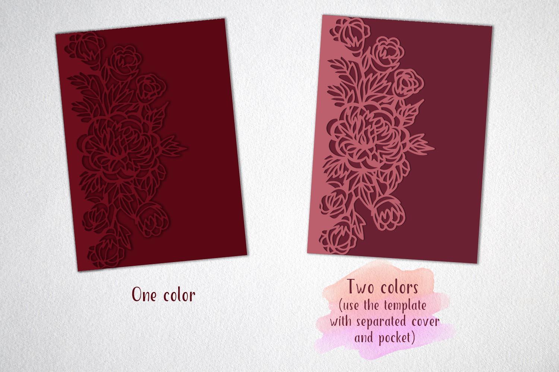 tri fold wedding invitation, svg dxf laser cut template