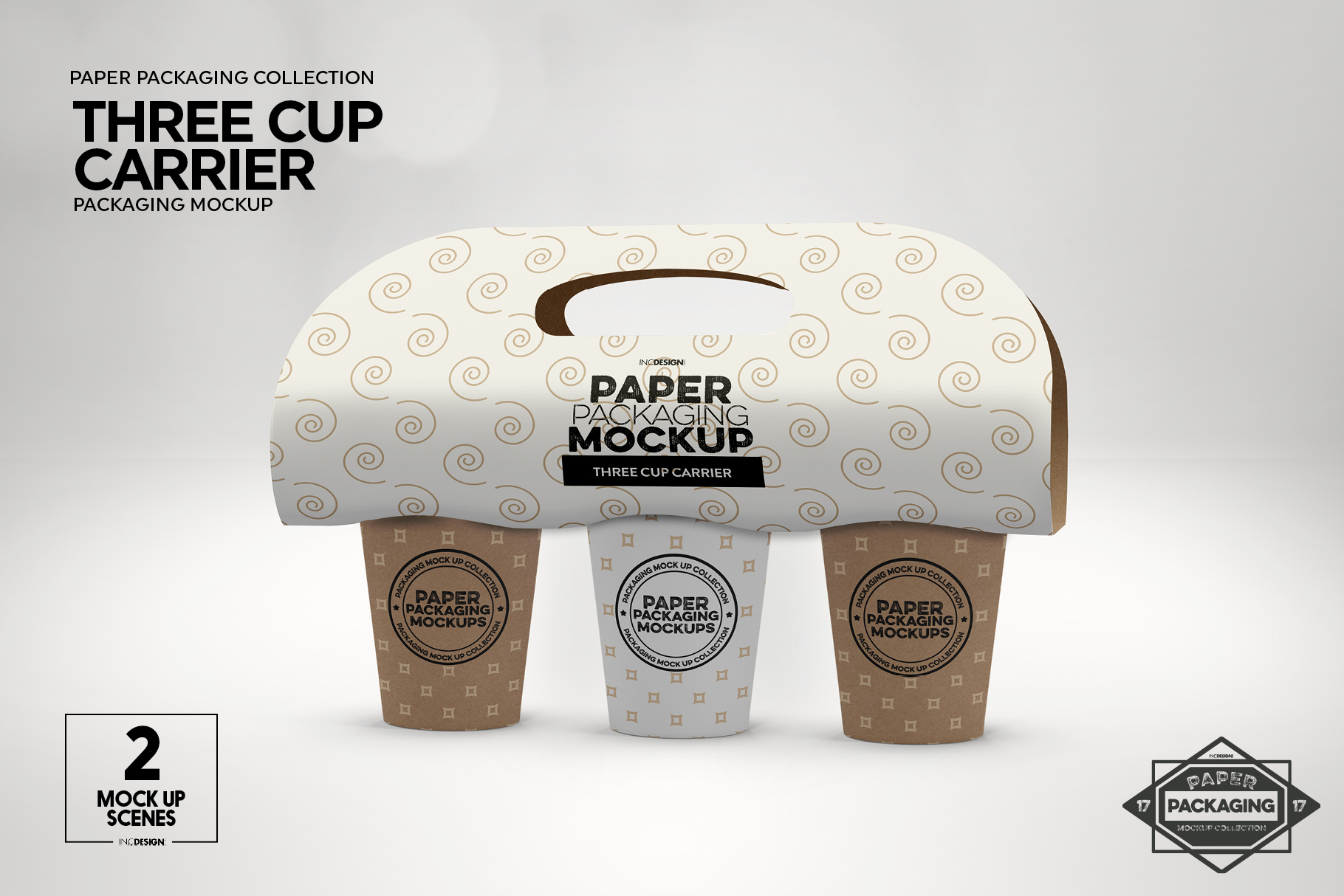 Three Cup Paper Carrier Packaging Mockup example image 11