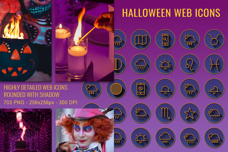 703 Halloween Web Communication Icons Set example image 1