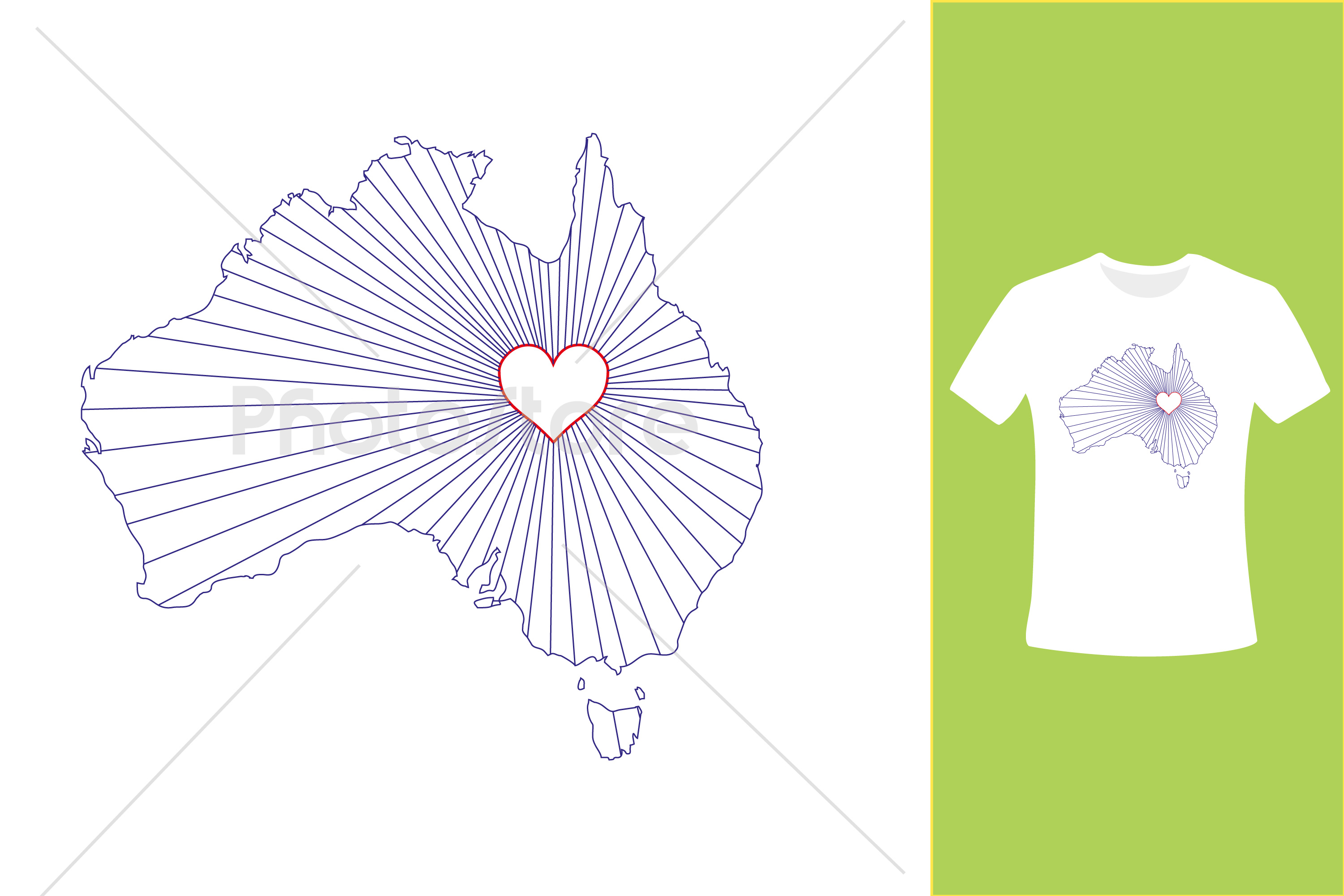 I Love Australia, Country Map Silhouette example image 5